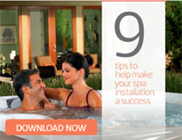 an icon that links to the pdf document describing 9 tips that help make spa installation a success