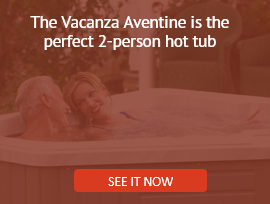 a couple relaxes in a vacanza aventine two person hot tub jacuzzi