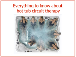 an overhead image of a lady performing hot tub circuit therapy in a hot tub